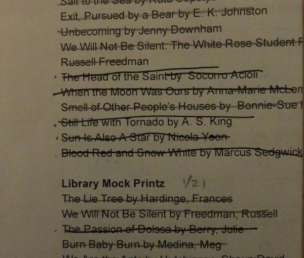 Finished!  Reading for the Mock Printz