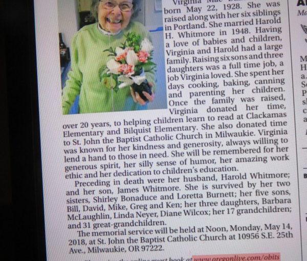 Great Aunt Virginia's Obituary