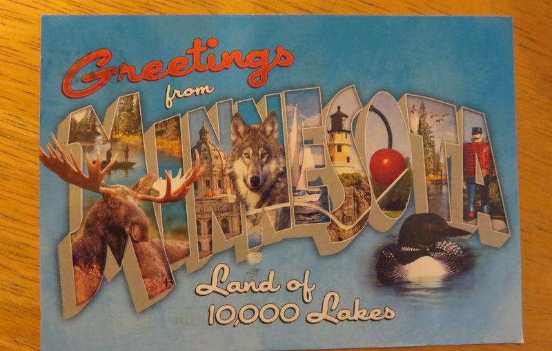 SKS postcard: Minnesota lingo and Minnesota letters