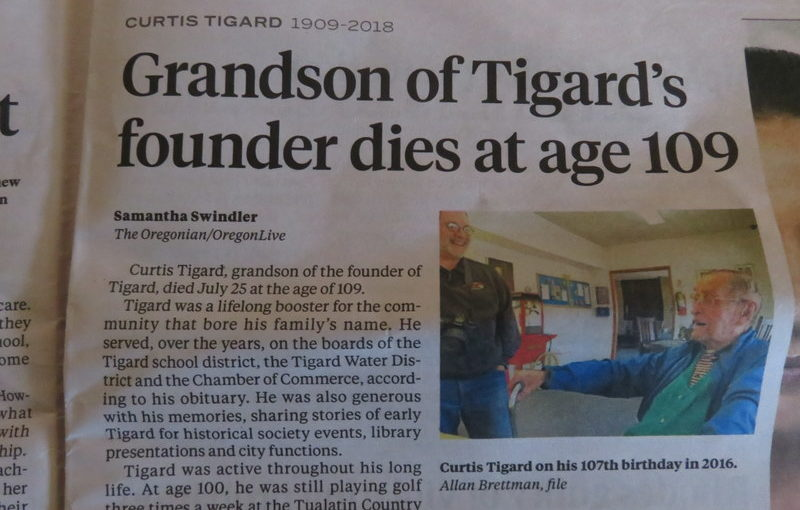 Curtis Tigard was only one year younger than my grandfather who died in 1990