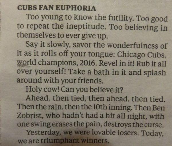 Thank goodness the Cubs won