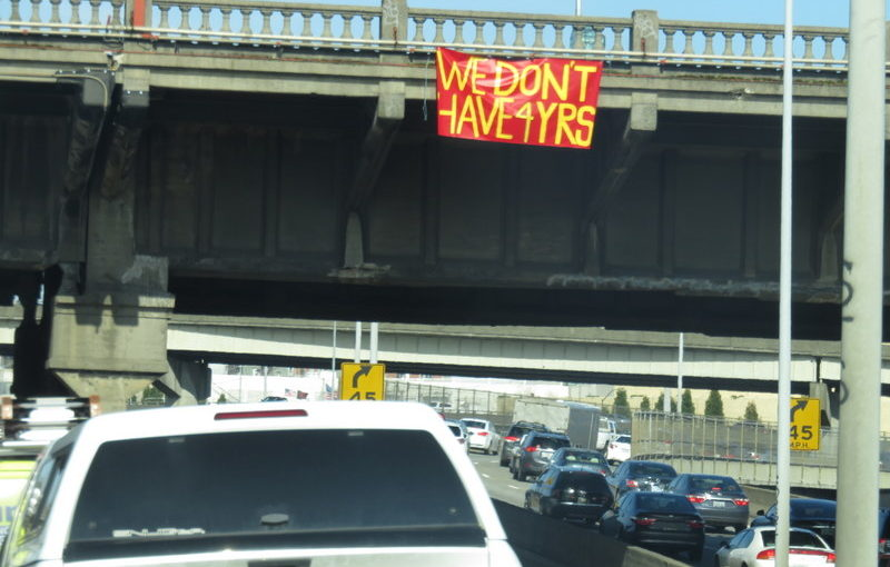 Sign of protest: from I-5 North