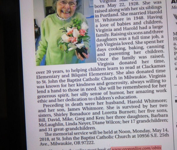 Great Aunt Virginia's Obituary