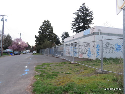 The temporary chain link fence in Portland, Oregon: a harbinger of deconstruction to come.