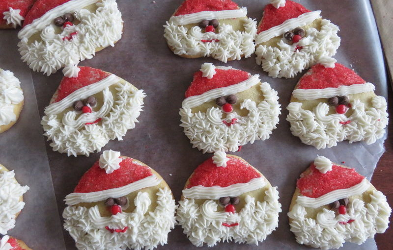 Decorating Santa Cookies with Mom